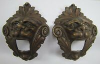 Antique Pair Bronze Monsters Beasts Lion Heads Decorative Architectural Hardware