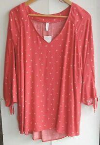 AVELLA SIZE 20 light orange white SHIRT - Women's clothes size 20 floral blouse