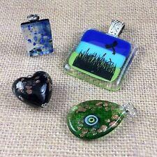 4 Art Glass Pendant Lot Heart Dichroic Tear Drop Nature Marsh Greens Blues Used