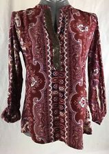Tiny anthropologie red blouse, paisley, Boho, Popover, Size Small, Bollywood