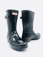 Hunter Original Short Gloss Black Rain Boots Women's Size 9
