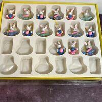 "14 Small Wood Easter Ornaments Easter Bunnies Eggs Carrots 1.5"" Folk Decor Cute"