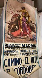 BULLFIGHTER POSTER Vintage 1980 Plaza de Toros Madrid PACO CAMINO EL VITI HTF