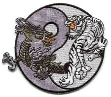 DRAGON & TIGER black/white yin yang EMBROIDERED IRON-ON PATCH *Free Ship panther