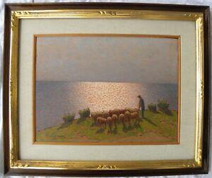 Giovanni LOMI (Livorno 1889-1969) Pascolo a Miramare splendido OLIO cm 30x40