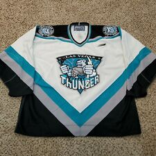 Vtg 90s Las Vegas Thunder IHL Authentic Fight Strap Bauer Pro Hockey Jersey 56