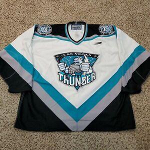 Vtg 90s Las Vegas Thunder IHL Authentic Fight Strap Bauer Pro Hockey Jersey 56