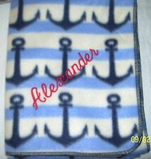 """Anchors Nautical Baby Blanket Can Be Personalized 28""""x44"""""""