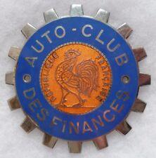Plaque émaillée de calandre Automobile Club Des Finances Coq France 1940/50