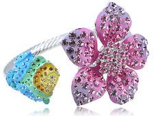 Flirty Brillante Colorido Neón Rosa Flor Elemento de Cristal Brazalete Pulsera Brazalete