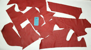 Leather scrap Red Italian lot Remnants pieces hides sheep goat lampskin earrings