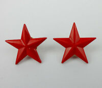 PAIR ARMY RED STAR BADGE INSIGNIA PIN STAR BROOCH-0117
