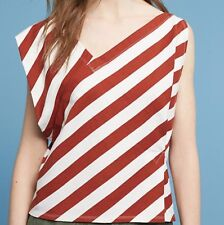 Anthropologie Top Small Brown Stripe Dulcina Asymmetrical Motif Shirt New