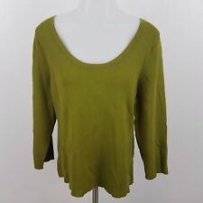 laura ashley top NEW L green long sleeve scoop $48 stretch knit womens tee