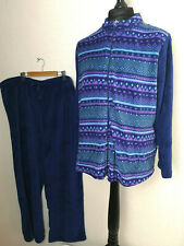 CAROLE HOCHMAN Men's Blue Fleece Pajamas Set  2XL XXL Heavenly Soft Sleep -875