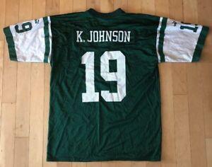 Vintage Keyshawn Johnson #19 NFL NY Jets XL Green Jersey Puma