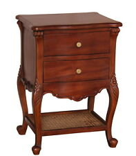 French Normandy Bedside Table With 2 Drawers Rattan Shelf Solid Mahogany Bs033