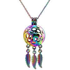 C705 Rainbow Color Chain Necklace Elephant Beads Cage Dangle Leaf Locket Pendant