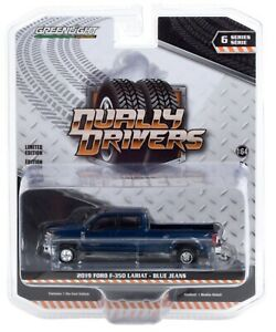 1:64 GreenLight *DUALLY DRIVERS 6* Blue Jeans 2019 Ford F350 Pickup Truck *NIP*
