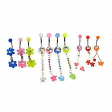 10  Acrylic Belly Button Rings Dangle Surgical Steel 14g with Jewels