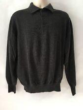 3feb02da07 Merino Wool Men  Polo Sweater PRONTO UOMO Gray Long Sleeves L Made In Italy