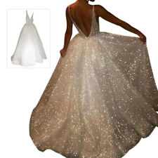 Women V Neck Collar Evening Gown White Backless Sequin Wedding Party Long Dress