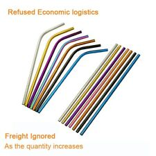 Reusable Drinking Straw Stainless Steel Metal Eco Friendly + Cleaning Brush Gift