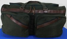 """ORVIS Battenkill Rolling Magnum Canvas & Leather Duffle Bag Case USA Wheeled 28"""""""