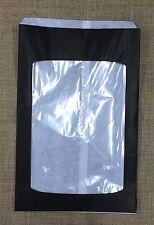 500 x Black Paper Bread Window bag - Cob loaf size 340Lx230W+60