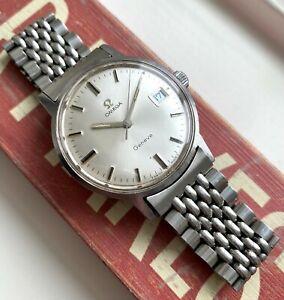 Vintage Omega Geneve Manual Wind Silver Sunburst Dial Steel Case w/ BOR bracelet
