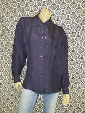 Clio Solid Blue Silk Collared Button Down Blouse Top Shirt Womens LARGE USED