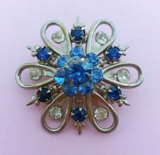 Vintage Blue Rhinestone Round Flower Silver Tone Pin Brooch
