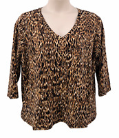 Rafaella Woman Knit Top Brown Animal Print Size 3X V-neck Pullover 3/4 Sleeve