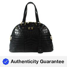 Yves Saint Laurent Womens Crocodile Muse Bag Shoulder Tote Handbag Black Leather