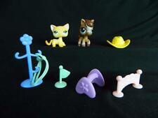 LOT 10 pc Littlest Pet Shop Raceabout Ranch Cat Brown Horse Accessories Playset