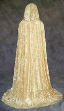 Unlined Gold Velvet Renaissance Cloak Cape Wedding Wicca Medieval LARP Cosplay