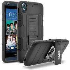 HTC Desire 626 Case, Impact Armor Hybrid Belt Clip Case with Kickstand - Black