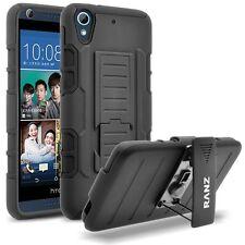 RANZ HTC Desire 626/626s Black Impact Armor Hybrid Kickstand & Belt Clip Case