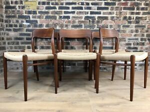 Neils O Moller Model 75 Mid Century Dining Chairs   Set Of 6   New Paper Cord