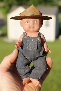Vintage Doll Denim Jeans Overalls and Tin Hat Buddy Lee old workwear antique