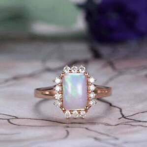 Opal & Diamond 4.56 Ct Halo Anniversary Engagement Ring with 18K Rose Gold Over
