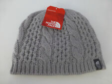 The North Face Minna Metallic Silver Cable Knit Beanie Hat One Size Unisex New