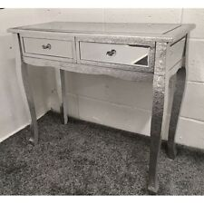 Silver Metal Embossed Mirrored Slim Leg Dressing Console Hall Table Desk