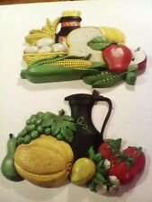Vtg Syroco Mcm Country Living Fruit Vegetable Kitchen Wall Decor Set 7381 & 7382