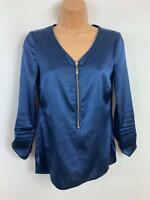WOMENS LIPSY DARK BLUE V NECK ZIP 3/4 SLEEVE SMART/CASUAL SHIRT/BLOUSE SIZE 6