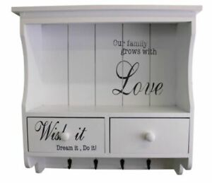 White Wooden Wall Unit Shelf with Hooks Drawer Shabby Chic Printed Words Storage