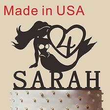 """Custom Mermaid Cake Topper With Name And Age, Acrylic, made in USA 5"""""""