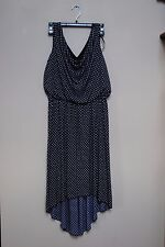 En Focus Studio size 6 women's dress Navy Blue & White POlka Dot Summer easter