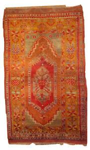 Handmade antique Turkish Anatolian rug 4' x 6.3' ( 122cm x 192cm ) 1910s - 1B433