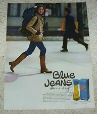 1975 vintage ad page - Blue Jeans Cologne Shulton SEXY GIRL backpacking PRINT AD